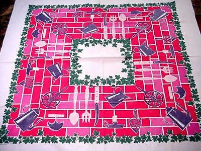Vintage Red Green COTTAGE Printed KITCHEN Tablecloth Ivy Tools Utensils & MORE!