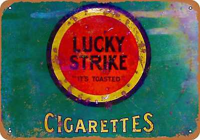 """7"""" x 10"""" Metal Sign - Lucky Strike Cigarettes - Vintage Look Repro"""