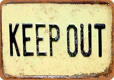 """7"""" x 10"""" Metal Sign - Keep Out - Vintage Look Repro"""