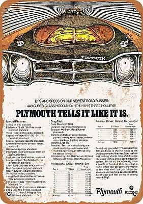 "7"" x 10"" Metal Sign - 1969 Plymouth Road Runner Specs - Vintage Look Reproductio"