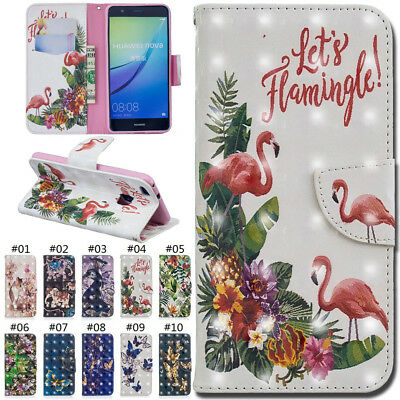 For Huawei P10 Lite 3D Stand Wallet Case Cover Patterned PU Leather Card Slot