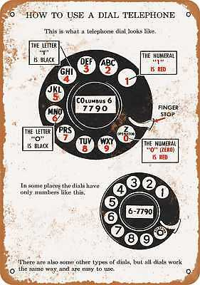 "7"" x 10"" Metal Sign - 1927 Here's How to Use a Dial Telephone - Vintage Look Rep"