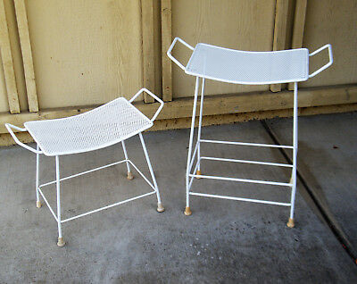 Set of 2 Mid Century Salterini Style Wire Mesh Stool - Vintage Patio Stool