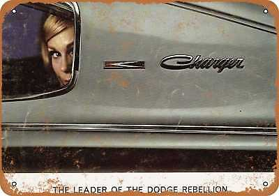 """7"""" x 10"""" Metal Sign - 1966 Dodge Charger - Vintage Look Repro"""