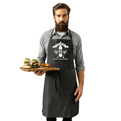 Funny Novelty Apron Kitchen Cooking - I Cook With Wine