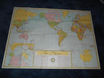 "Old Vtg Universal MAP OF THE WORLD Global Changes Since WORLD WAR II 49""x36"""