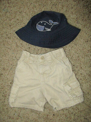 655ac647af1 GYMBOREE BABY WHALE BUCKET HAT WITH CHIN STRAP Hat + GAP SHORTS 12 - 18 -