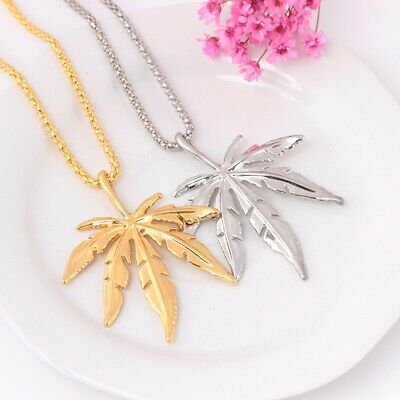 18k Gold Plated Mens Hip Hop Necklace Weed Leaf Maple Pendant Chain Jewelry