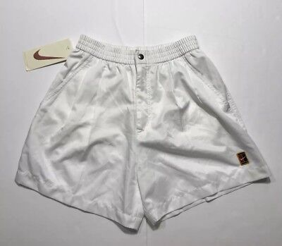 Vintage 90's NIKE Tennis Court Challenge Agassi Shorts White MENS Sz M *NEW*