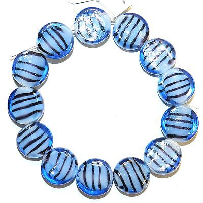 G1270 Blue White w Black Stripes 14mm Flat Round Lampwork Glass Beads 13pc
