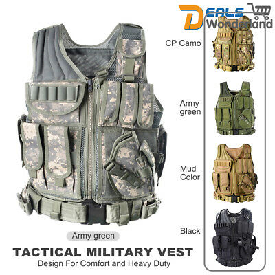 Tactical Military Vest Army Paintball Airsoft Combat Assault Adjustable Armor