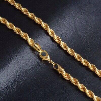 18K Yellow Gold Filled Twist Rope Chain Necklace Mens HIP HOP Jewelry 16-30''