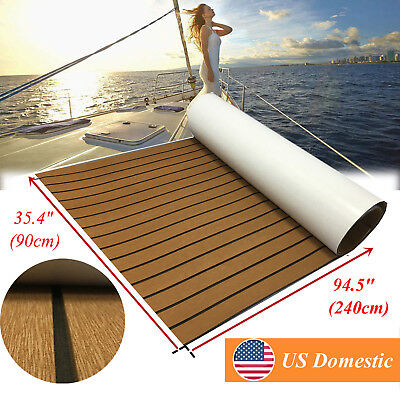 Marine Teak Decking Sheet For Boat Carpet EVA Yacht Flooring 90x240cm Wood Brown