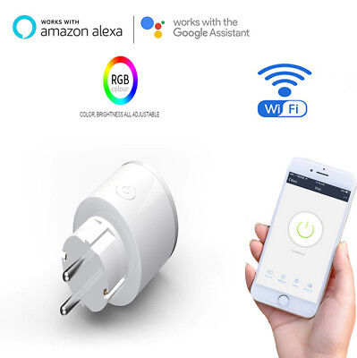 Smart Socket WiFi Wireless Outlet APP Remote Control W/ RGB Light US/UK/EU Plug*