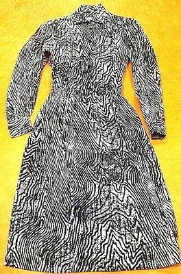 Womens Vintage 60s 70s Black White Grey Abstract Fit & Flare Shirt Dress S-M
