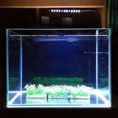 Hot 48 LED 2 Mode Fish Tank Aquarium Plant Grow Clip White Blue Light Lamp US IE