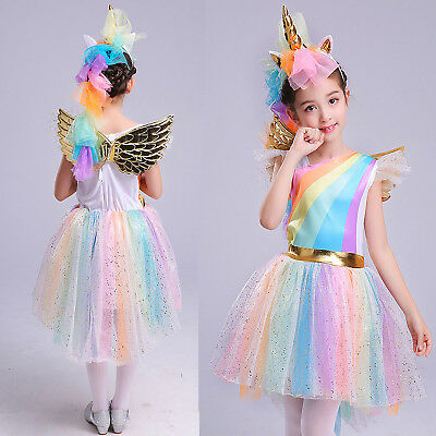Girls Unicorn Costume Tulle Tutu Princess Dress Cosplay Party Headband Outfit AU