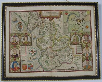 Lancashire: antique map by John Speed, 1610 (1676 edition)