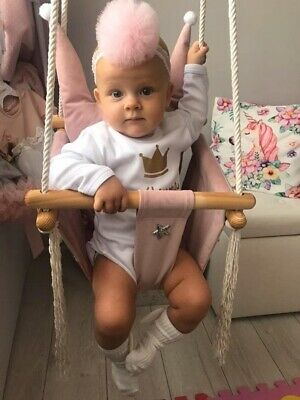 Baby Chair Seat Toddler Swing Child Swing Wooden Toy Crown Swing