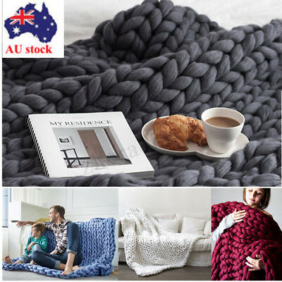 AU Handmade Chunky Knit Blanket Thick Yarn Merino Throw Bed Sofa Winter/Autumn