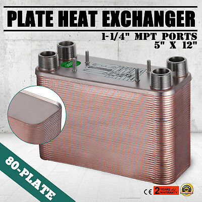 80 Plate Water to Water Brazed Plate Heat Exchanger HVAC Parts Radiant NPT