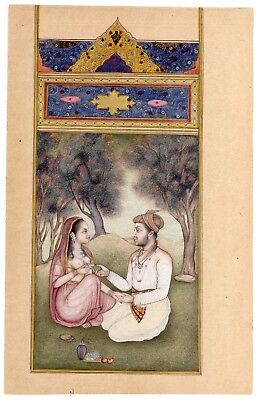 King and Queen Spending quality time in garden fine miniature mughal painting