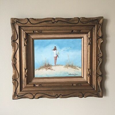 Vtg Original Oil Painting Woman on Beach Sand summer ocean signed framed