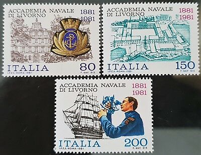Italy 1981 Sc # 1472 to Sc # 1474 Naval Academy Livorno MNH Mint Stamps Set