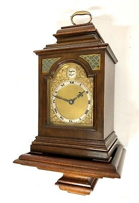 Petite Antique Walnut Mantel Bracket Clock With Bracket : Georgian Style