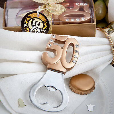 FASHIONCRAFT 50th Anniversary/ Birthday Design Bottle Opener Favours Gold