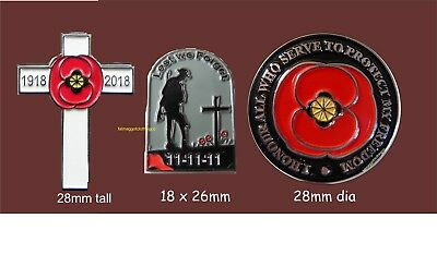 11.11.11 Soldier, cross and Honour Poppy Wartime remembrance Enamel Pin Badges