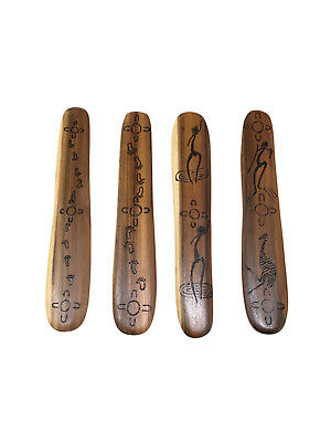 Handmade Timber Aboriginal Message Stick - Burnt design