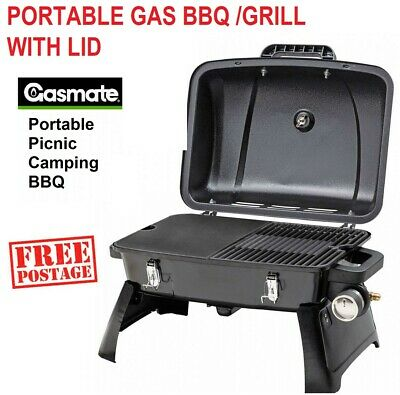 NEW Gasmate Barbecue Portable Gas BBQ Grill Camping Outdoors Cooking with Plate