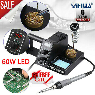 Digital LED Soldering Iron Station Rework Kit Variable Stand Temperature 60W UK