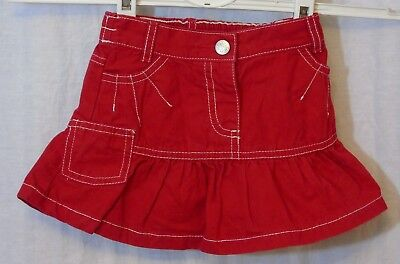 Baby Girls George Red Denim White Stitch Skater Skirt Age 12-18 Months