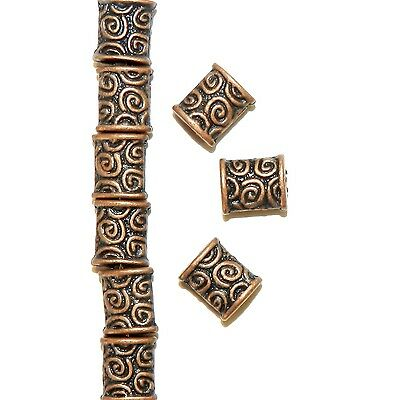 MBL3151 Antiqued Copper 8mm Flat Puffed Rectangle Metal Beads 50pc
