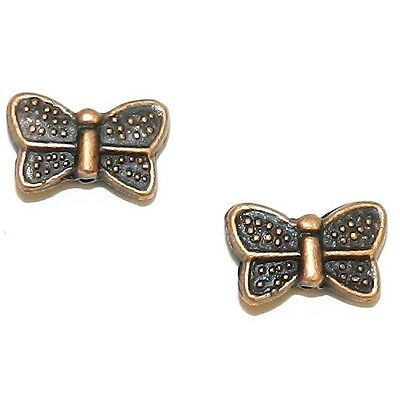 MB3136 Antiqued Copper Double-Sided 10mm Butterfly Metal Spacer Beads 50pc