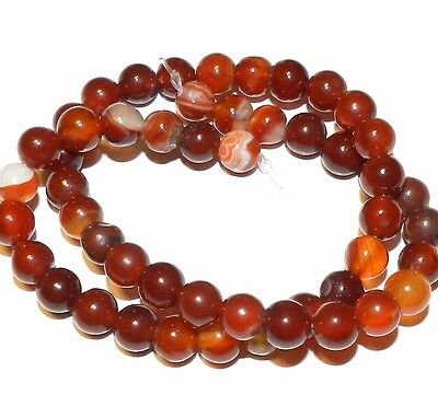 GR636fa Banded Red Agate 8mm Round Gemstone Beads 15""
