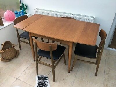 1950s-60s Teak Dining Table And Chairs Rockabilly Retro Atomic
