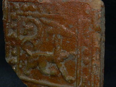 Ancient Amber Glazed Tile Islamic 1000 AD #S4344