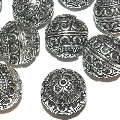 MBX7234 Antiqued Silver 17mm Round Fancy Flower & Swirl Deco Metal Beads 20pc