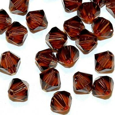 SCB5132 Smoked Topaz Brown 6mm Faceted Xilion Bicone Swarovski Crystal Bead 24pc