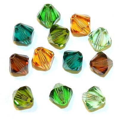 SCB6505 Forest Mix Green Brown 8mm Bicone Swarovski Crystal Bead Assortment 12pc