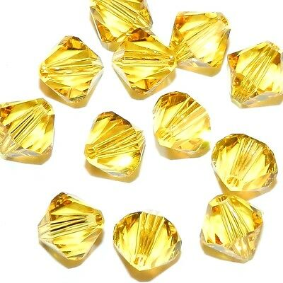 SCB685 Light Topaz Yellow 8mm Faceted Xilion Bicone Swarovski Crystal Bead 12pc
