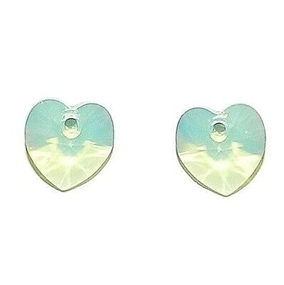 SCI1128 Chrysolite Opal 10mm Faceted Xilion Heart Swarovski Crystal Beads 2pc