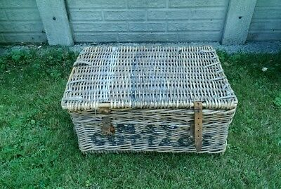 Large Vintage Wicker Industrial Laundry Basket May Cottage Collection Only