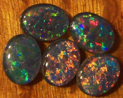 OPAL TRIPLETS  FOR  RINGS OR PENDANTS 5 of 9x7mm OVAL CABOCHON A grade 5.8cts