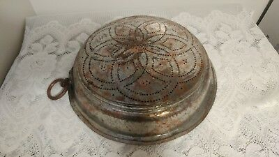 Antique Primitive Hand Hammered Large Copper Strainer