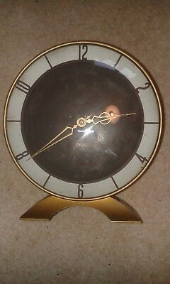 Vintage 1940's Smith 8 day mantle clock, Brass and Wood