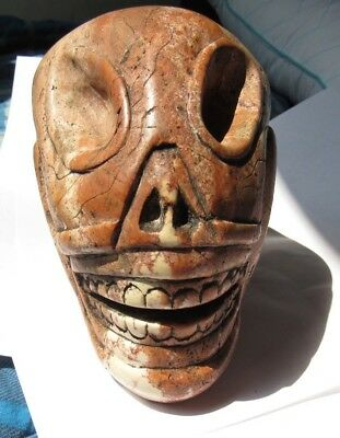 Ancient Pre-Columbian Ojuelos de Jalisco Stone Alien Skull Artifact!